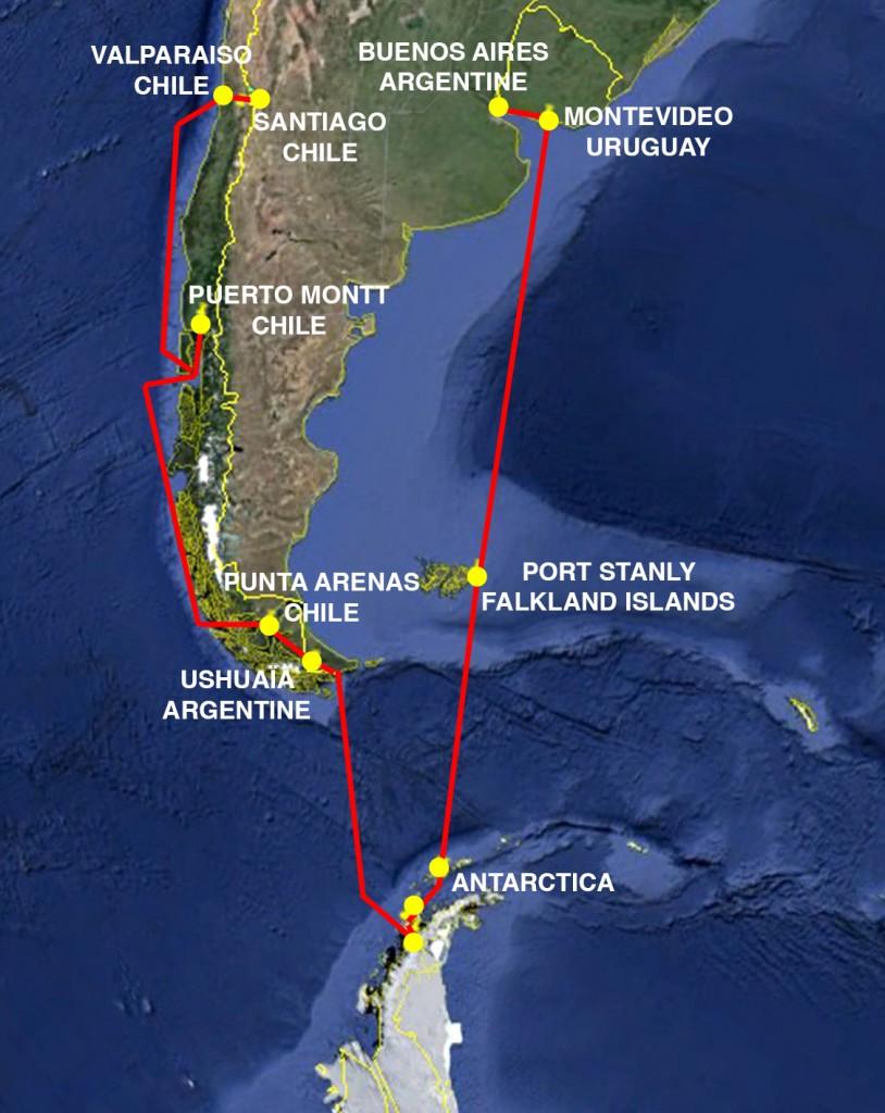 Carte Antarctica Itinéraire